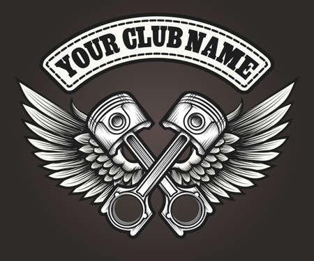 Biker club emblem. Motor club winged pistons vintage label. Vector illustration