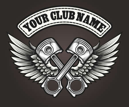 Biker club emblem. Motor club winged pistons vintage label. Vector illustration