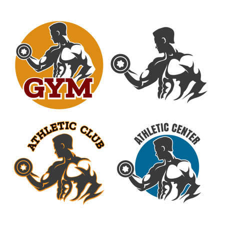 Gym or fitness emblems with bodybuilder holds dumbbel. Sport labell or athletic club design element. Vector illustration. Illustration