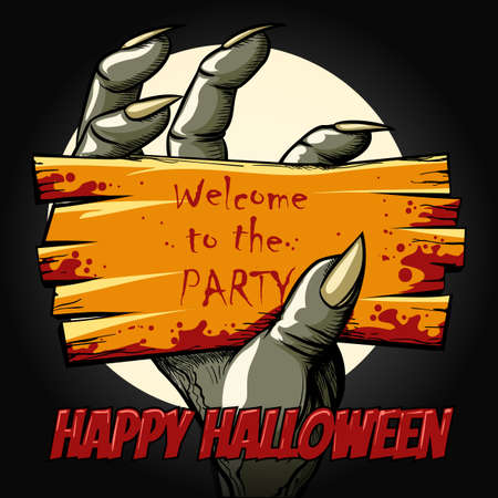 Happy Halloween Poster with monster hand holds invitation to the halloween Party. Vector illustration. Illustration