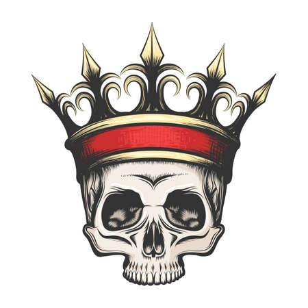 手は、タトゥー スタイルで黄金の王冠に人間の頭蓋骨を描画されます。ベクトル図