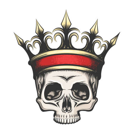 Hand drawn human skull in golden crown in tattoo style. Vector illustration Фото со стока - 87104459