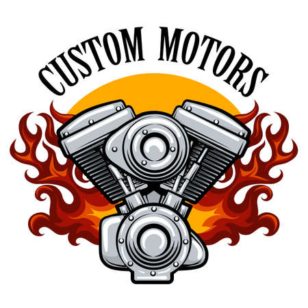 Motorcycle service badge with motor in flame Ilustração