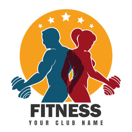 Fitness club emblem with muscled man and woman silhouettes