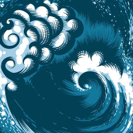 Hand drawn ocean wave Illustration
