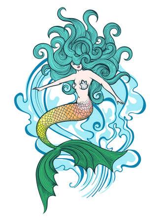 Hand getekende zeemeermin