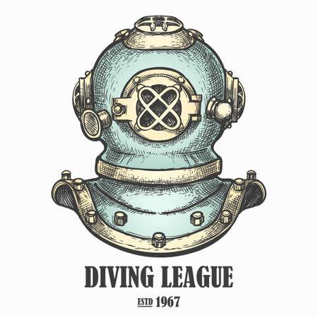 Ancien casque de plongée dessiné dans un style rétro. Illustration vectorielle Banque d'images - 88277198