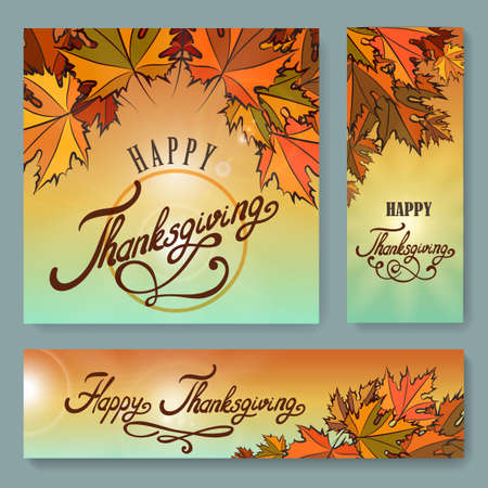 Hand drawn Thanksgiving typography poster and banner set. Thanksgiving lettering and autumn leaves. Vector illustartion. Illustration