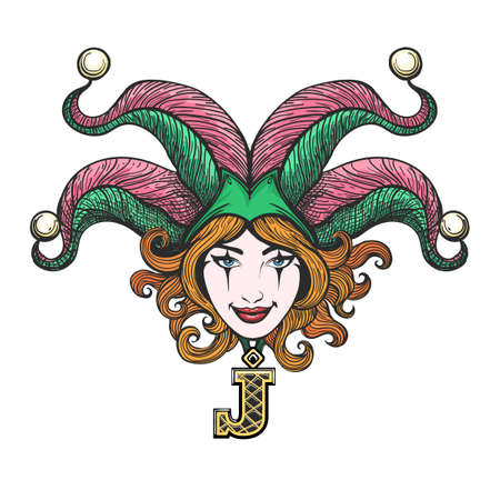 Pretty girl face with joker make-up in masquerade hat drawn in tattoo style. Vector illustration. Illustration