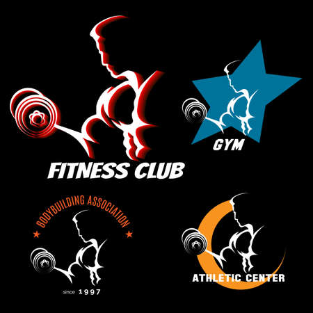 Body building emblem set with athletic man intensive training. Vector illustration