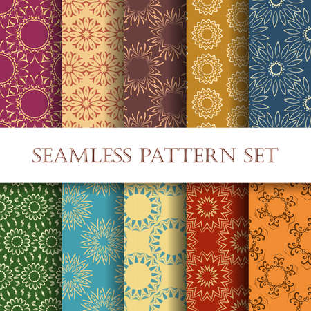 10 観賞用シームレスなデザインのセットです。印刷、web およびテキスタイル デザインの楽な幾何学パターン。ベクトルの図。