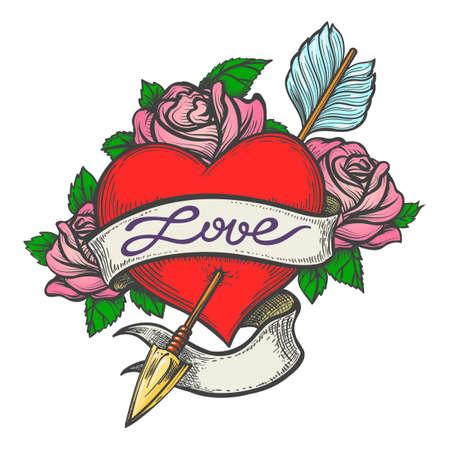 Hart doorboord door pijl met lint en handgemaakte letters Liefde getekend in tattoo-stijl. Vector illustratie