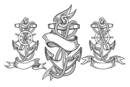 Hand Drawn Anchor Set. Three anchors with ribbons in tattoo style. Vector illustration.