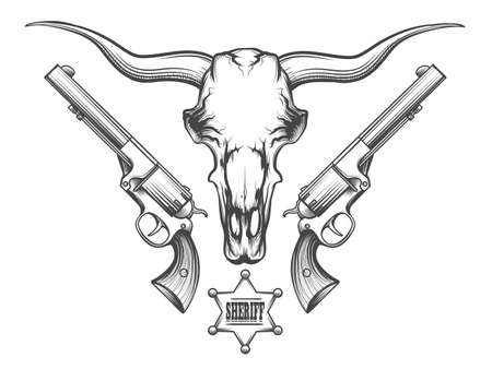 Bison skull with pair of revolvers and sheriff badge drawn in engraving style. Vector illustration. Vettoriali
