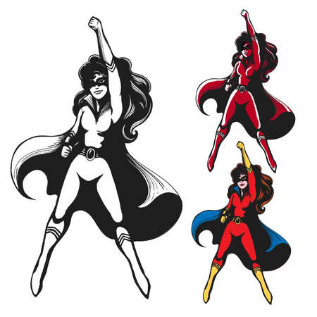 Girl in Superhero costume Standing in heroical pose with Cape Waving in the Wind. Vector illustration.