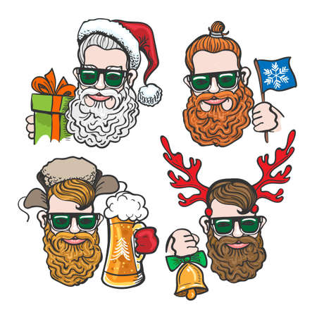 Hand drawn cartoon Hipsters with festive Christmas accessories isolated on white background. Vector illustration