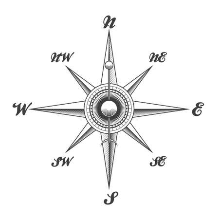 Wind rose navigation compass drawn in engraving style isolated on white background. Vector illustration.