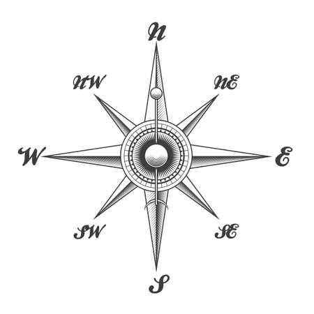 Windroos navigatie kompas getrokken in gravure stijl geïsoleerd op een witte achtergrond. Vector illustratie. Stock Illustratie