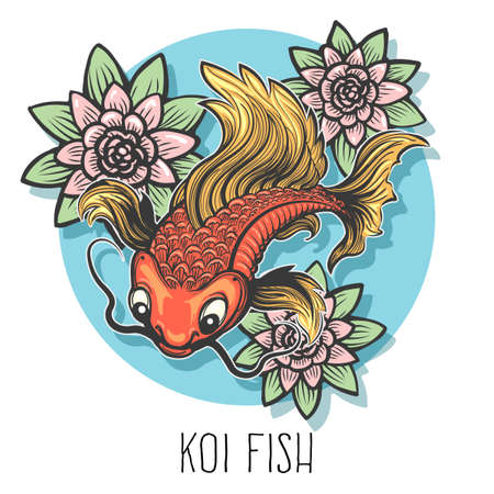 Hand drawn carp fish with flowers drawn in tattoo style. Illustration