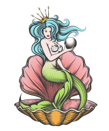 Long-haired mermaid in an open pearl shell holds a pearl in her hand.