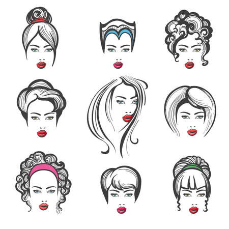 Hand drawn collection of stylish fashionable hairstyles for woman. Vector illustration