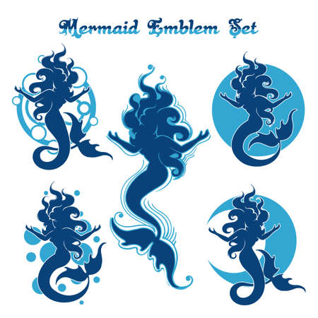 Set of blue mermaid silhouettes. Swimming Mermaids design isolated on white background. Vector illustration.  イラスト・ベクター素材