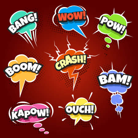 Set of Comic speech bubbles set with different text Wow, Ouch, Bang, Pow, Crash etc, Pop Art style. Vector illustration.
