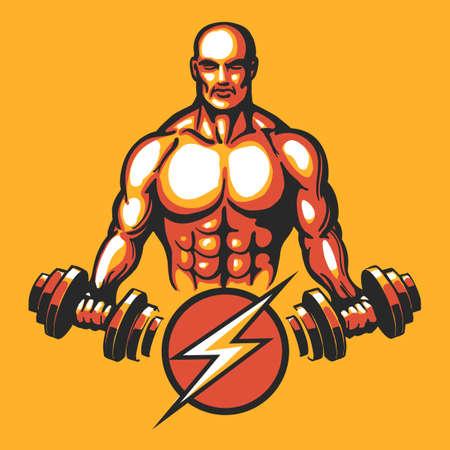 Bodybuilder in training pose with a dumbbell. Gym or fitness club emblem. Vector illustration Ilustração