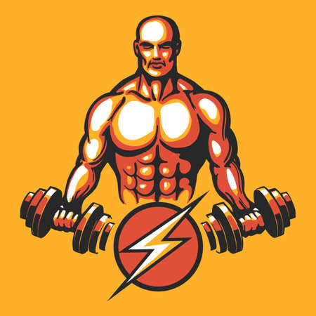 Bodybuilder in training pose with a dumbbell. Gym or fitness club emblem. Vector illustration Illustration