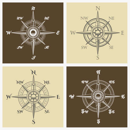 Set of windroses or compass roses emblem. Vector illustration