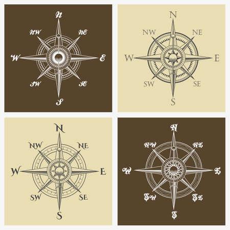 Set windrossen of kompasroos embleem. Vector illustratie