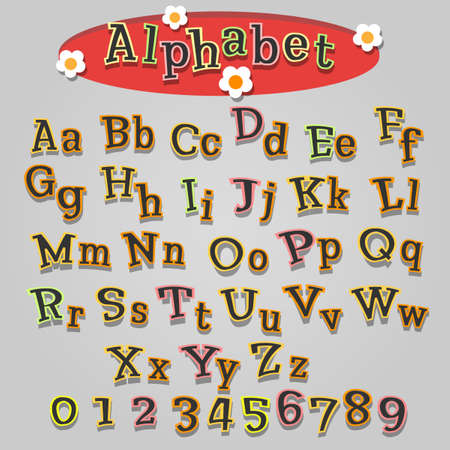 Cartoon alphabet in childish style. Colorful letters and numbers. Vector illustration.