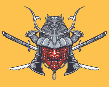 Hand drawn Japanese samurai mask with two crossed swords. Vector illustration in tattoo style.  Çizim