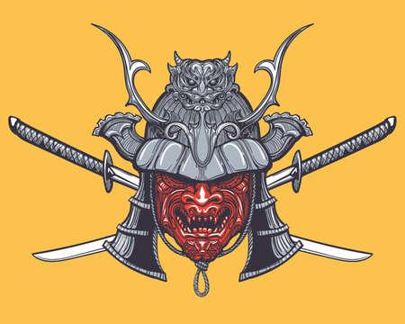 Hand getrokken Japanse samurai masker met twee gekruiste zwaarden. Vectorillustratie in tatoeage stijl.