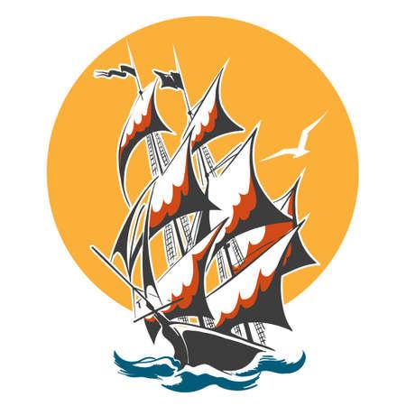 Sail ship emblem. Old vessel in stormy ocean. Vector illustration. Stock Illustratie