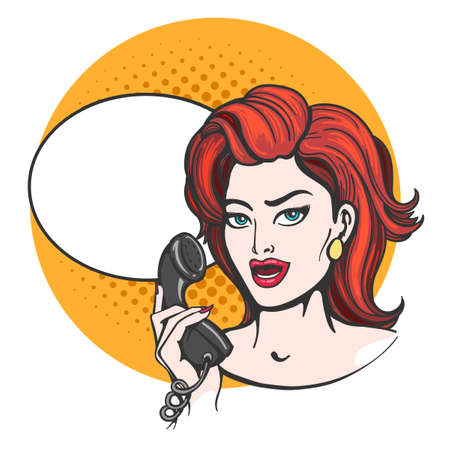Woman with phone and speech bubble drawn in pop art style. Vector illustration.