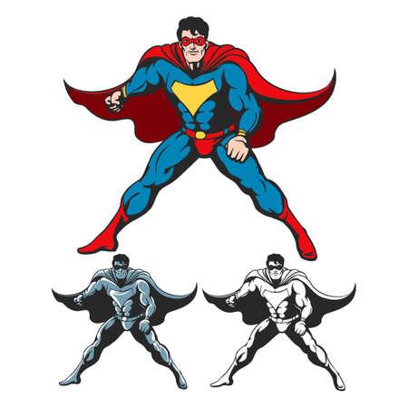 ケープ風になびかせて立っているスーパー ヒーローの漫画します。カラフルでレトロなコミック スタイル白で隔離の 2 つの追加バージョン。グラデ