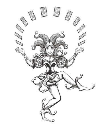 踊るジョーカー女の子は、白で隔離の入れ墨のスタイルで描かれたトランプでジャグリングします。ベクトル図