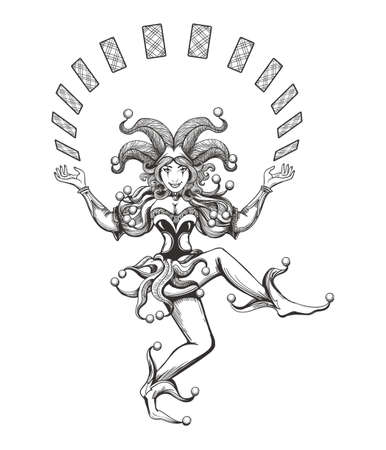 Dancing Joker girl juggles with playing cards drawn in tattoo style isolated on white. Vector illustration