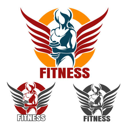 Bodybuilder Gym or Fitness emblem set. Winged Athletic Woman Holds dumbbell in various color variation isolated on white. Vector illustration.