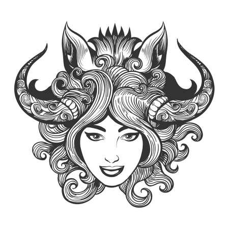 Cara de niña en la máscara de chamán de jabalí dibujado en estilo de tatuaje. Ilustración vectorial Foto de archivo - 91005861