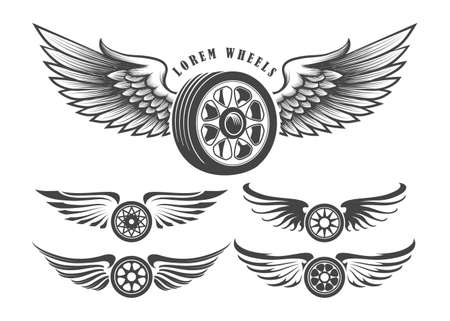 Set of wheels with wings for tattoo or label design isolated on white. Vector illustration.