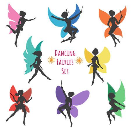 踊る妖精のシルエットのセット。カラフルな羽を持つ 9 つの妖精。ベクトルの図。