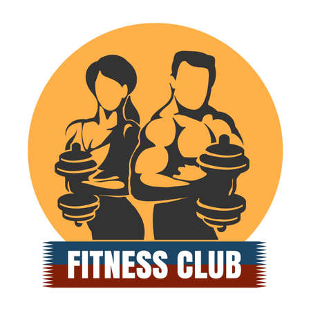 Bodybuilding or Fitness Template. Athletic Man and Woman Holding Weight Silhouette. Vector illustration.  イラスト・ベクター素材