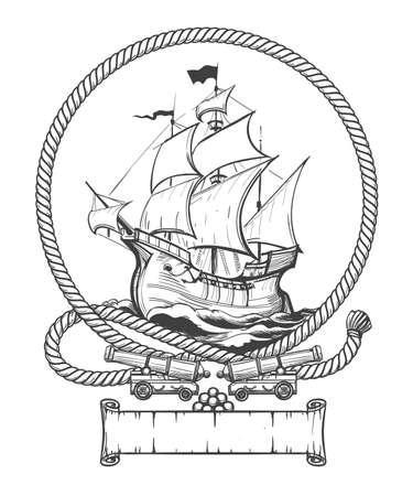 Velero en bastidor de cuerda con cañones de barco dibujados en estilo de grabado. Ilustración vectorial