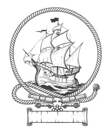 Sailing ship in rope frame with ship cannons drawn in engraving style. Vector illustration.