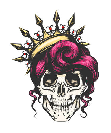 Female skull with a crown and long hair. Queen of death drawn in tattoo style. Vector illustration. Vettoriali