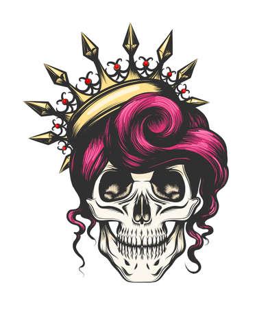 Cranio femminile con una corona e capelli lunghi. Regina della morte disegnata in stile tatuaggio. Illustrazione vettoriale