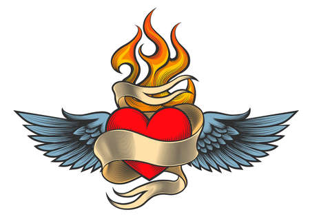 Flaming heart with wings and ribbon drawn in retro tattoo style.