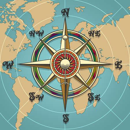 classique vintage wind compass rose sur fond de carte dessiné dans le style rétro. illustration vectorielle